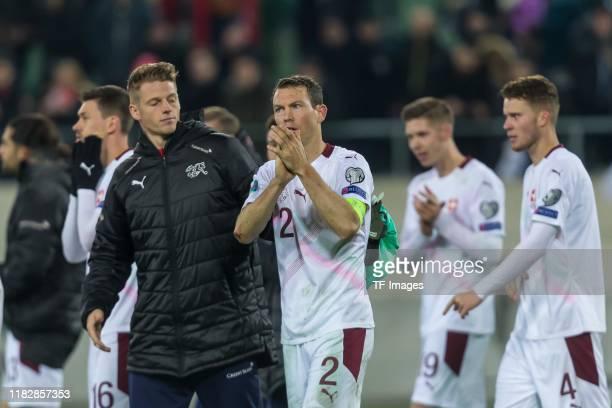 Stephan Lichtsteiner of Switzerland gestures during the UEFA Euro 2020 Qualifier between Switzerland and Georgia on November 15 2019 in St Gallen...