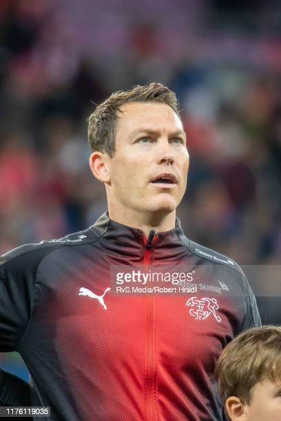 Stephan Lichtsteiner of Switzerland looks on during the Swiss national anthem prior to the UEFA Euro 2020 qualifier between Switzerland and Republic...