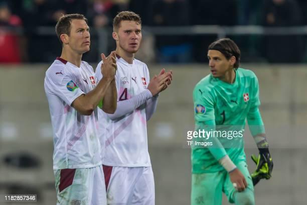 Stephan Lichtsteiner of Switzerland Nico Elvedi of Switzerland and goalkeeper Yann Sommer of Switzerland gestures during the UEFA Euro 2020 Qualifier...