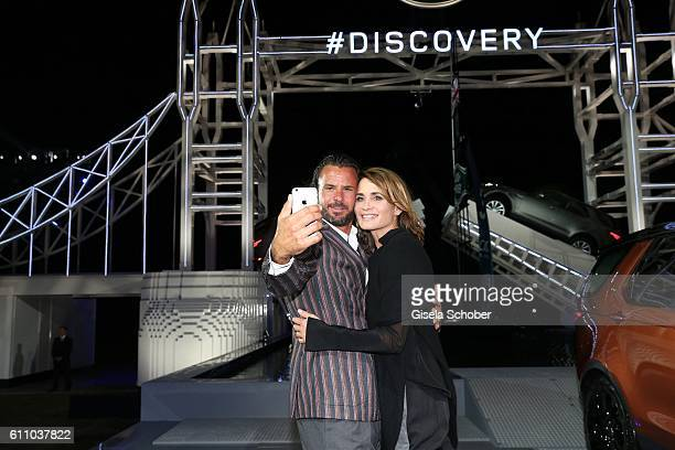 Stephan Luca and Anja Kling make a selfie during the world premiere of the allnew Land Rover Discovery at Packington Hall park on September 28 2016...