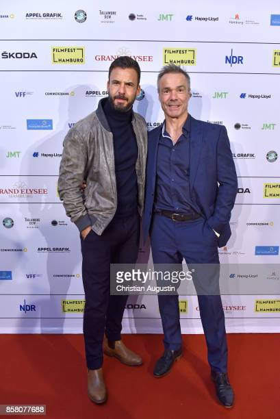 Stephan Luca and Hannes Jaenicke attend the premiere of 'Lucky' during the opening night of Hamburg Film Festival 2017 at Cinemaxx Dammtor on October...