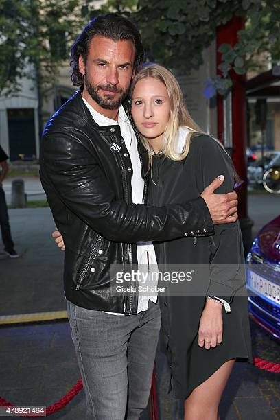 Stephan Luca and his daughter Emely Luca during the Peugeot BVC Castingnight Summer 2015 at Kaeferschaenke on June 28 2015 in Munich Germany