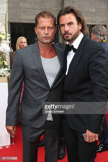 Stephan Luca and Til Schweiger arrive for the German Film Award 2015 Lola at Messe Berlin on June 19 2015 in Berlin Germany
