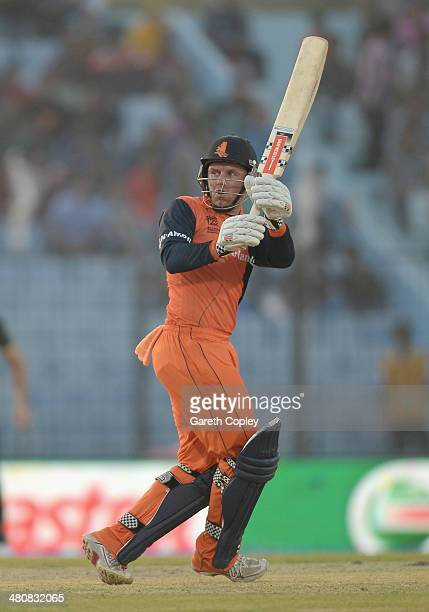 Stephan Myburgh of the Netherlands bats during the ICC World Twenty20 Bangladesh 2014 Group 1 match between South Africa and the Netherlands at Zahur...