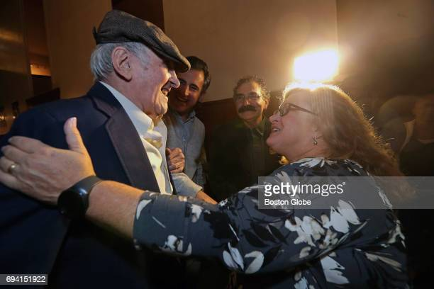 Stephan Ross and Gwen Allanson daughter of US serviceman Steve Sattler who rescued Ross at Dachau concentration camp in Germany are pictured before...