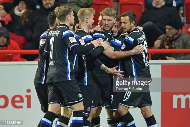 Stephan Salger, Brian Behrendt, Nils Seufert, Fabian Klos, Jonathan Clauss and Manuel Prietl of Bielefeld celebrate during the Second Bundesliga...