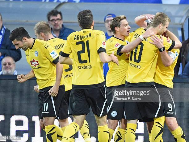 Stephan Salger, Felix Burmeister, Patrick Schoenfeld, Tom Schuetz, Kacper Przybylko and Fabian Klos of Bielefeld cewlkebrate their teams second goal...