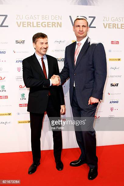 Stephan Scherzer and former box champion Vitali Klitschko during the VDZ Publishers' Night 2016 at Deutsche Telekom's representative office on...