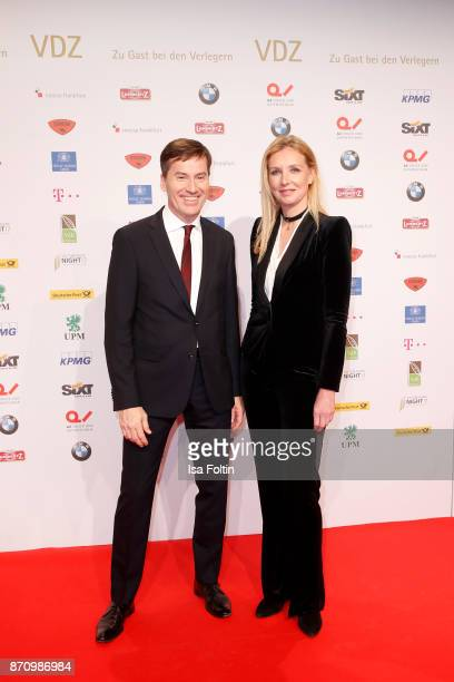 Stephan Scherzer and Jette Joop attend the VDZ Publishers' Night at Deutsche Telekom's representative office on November 6 2017 in Berlin Germany