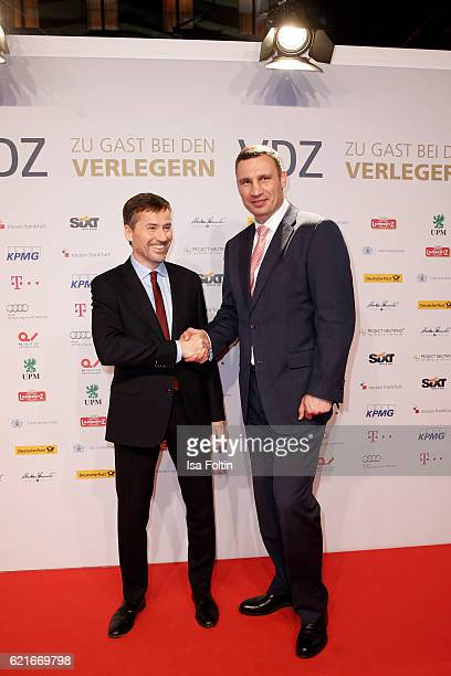 Stephan Scherzer and Vitali Klitschko during the VDZ Publishers' Night 2016 at Deutsche Telekom's representative office on November 7 2016 in Berlin...
