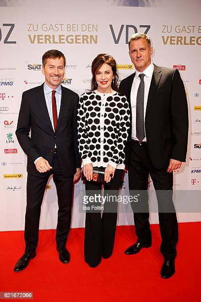 Stephan Scherzer Iris Berben and Heiko Kiesow during the VDZ Publishers' Night 2016 at Deutsche Telekom's representative office on November 7 2016 in...