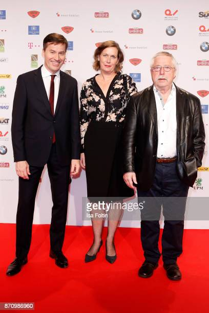 Stephan Scherzer Pamela Biermann and Wolf Biermann attend the VDZ Publishers' Night at Deutsche Telekom's representative office on November 6 2017 in...