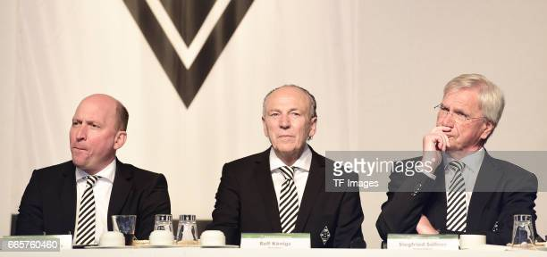 Stephan Schippers and Rolf Konigs and Siegfried Solle is seen during the Borussia Mönchengladbach Annual Meeting at the Borussia Park on April 3,...