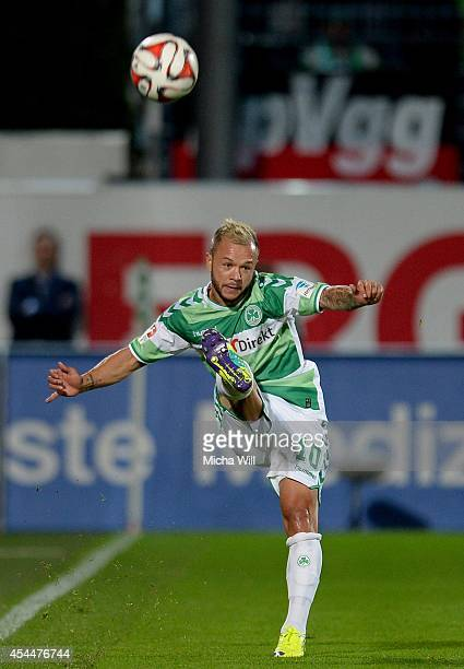 Stephan Schroeck of Fuerth kicks the ball during the Second Bundesliga match between Greuther Fuerth and FC St. Pauli at Trolli-Arena on September 1,...