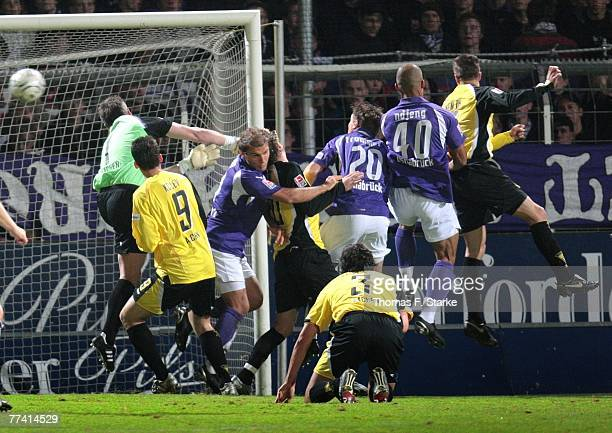 Stephan Straub of Aachen lets through the second goal while Todor Kolev of Aachen Marcel Schuon of Osnabrueck Benjamin Weigelt and Alexander...