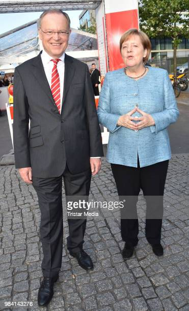 Stephan Weil and German Federal Chancellor Angela Merkel during the LV Lower Saxony Summer Party on June 25, 2018 in Berlin, Germany.