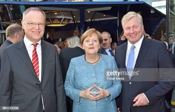 Stephan Weil, German Federal Chancellor Angela Merkel and Bernd Althusmann during the LV Lower Saxony Summer Party on June 25, 2018 in Berlin,...