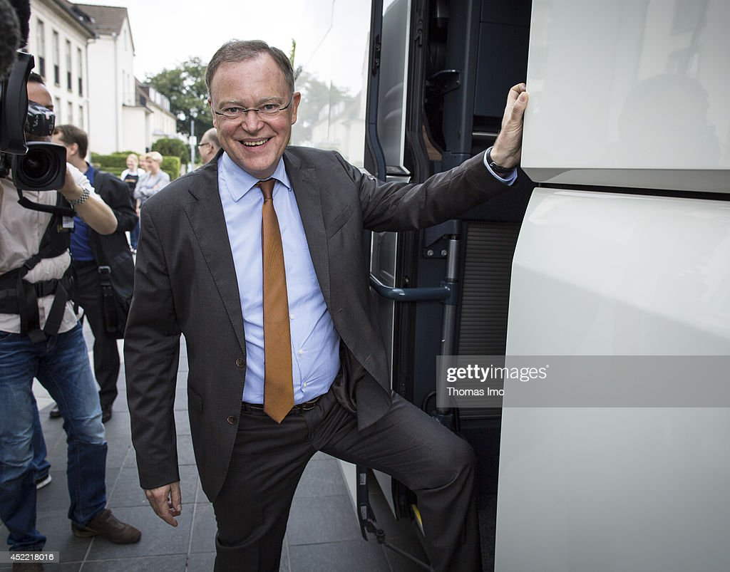 Stephan Weil, Prime Minister of German State Lower-Saxony, enters a coach during his summertour through lower saxony on July 16, 2014 in Hanover, Germany.