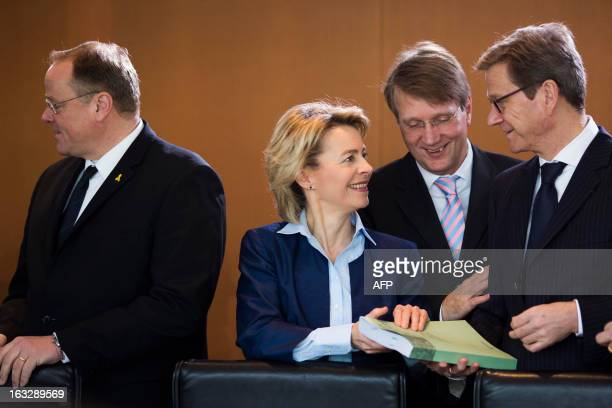 Stephan Weil , Prime Minister of Lower Saxony, Foreign Minister Guido Westerwelle talk with German Minister of Labour and Social Affairs Ursula von...