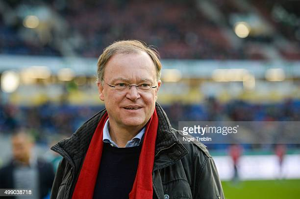 Stephan Weil, prime Minister of Lower Saxony, is pictured prior to the Bundesliga match between Hannover 96 and FC Ingolstadt at HDI Arena on...