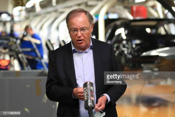 Stephan Weil, prime minister of the German state of Lower Saxony, speaks during a news conference on the Volkswagen AG reopened assembly line at...