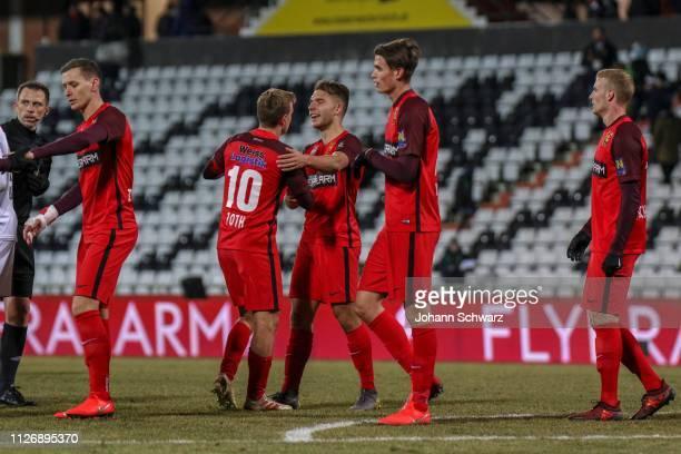 Stephan Zwierschitz Daniel Toth Patrick Schmidt Wilhelm Vorsager and Jonathan Scherzer of Admira celebrate their victory during the tipico Bundesliga...