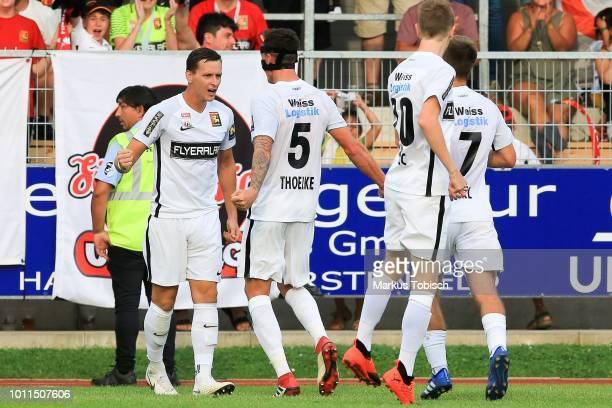 Stephan Zwierschitz of Admira, Bjarne Thoelke of Admira and Dominik Starkl of Admira celebrate during the tipico Bundesliga match between TSV...