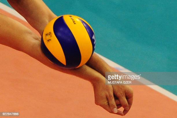 Stephane Antiga of France hits the ball back during the European Volleyball Championships men's play off round match France vs Spain in Izmir Turkey...