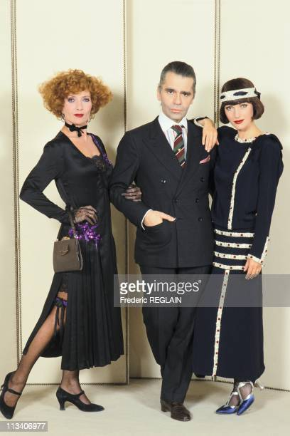 Stephane Audran Karl Lagerfeld And Jane Seymour On July 1st 1984 In France