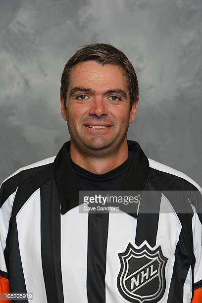 Stephane Auger poses for his official headshot for the 20102011 NHL season during the NHL Officials training camp on September 7 2010 in Collingwood...