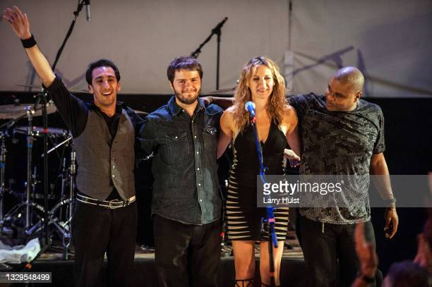 Stephane Avellaneda, Ana Popovic, and Carlton Armstrong are performing with her band at the Stargazers Theater in Colorado Springs, Colorado on...