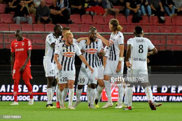 Stephane Bahoken of Angers celebrates scoring during the French Ligue 1 match between Dijon FCO and Angers SCO on September 15 2018 in Dijon France