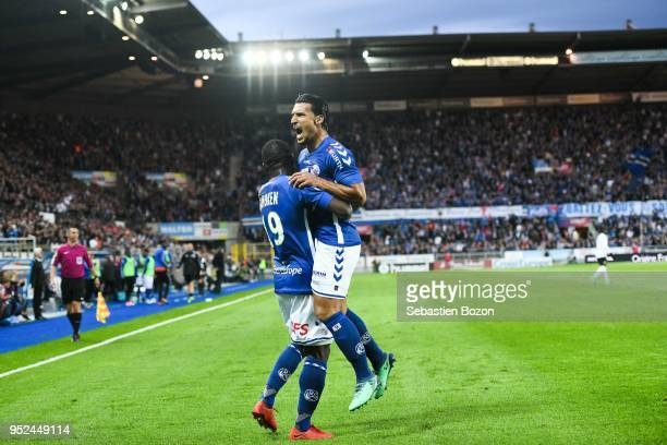 Stephane Bahoken of RC Strasbourg and Idriss Saadi of RC Strasbourg during the Ligue 1 match between Strasbourg and OGC Nice at on April 28 2018 in...