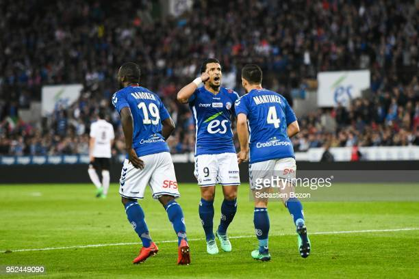 Stephane Bahoken of RC Strasbourg Idriss Saadi of RC Strasbourg and Pablo Martinez of RC Strasbourg during the Ligue 1 match between Strasbourg and...