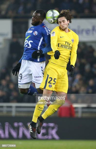 Stephane Bahoken of Strasbourg and Adrien Rabiot of PSG during the French Ligue 1 match between RC Strasbourg Alsace and Paris Saint Germain at Stade...