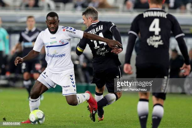 Stephane Bahoken of Strasbourg in action during the Ligue 1 match between FC Girondins de Bordeaux and Strasbourg at Stade Matmut Atlantique on...