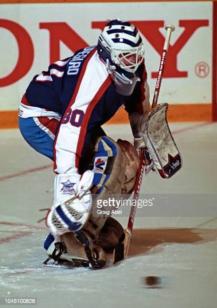 Stephane Beauregard of the Winnipeg Jets skates against the Toronto Maple Leafs during NHL game action on March 17 1990 at Air Canada Centre in...