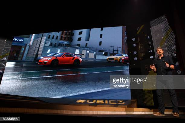 Stephane Beley creative director of Ivory Tower speaks while announcing The Crew 2 video game during the Ubisoft Entertainment SA event ahead of the...