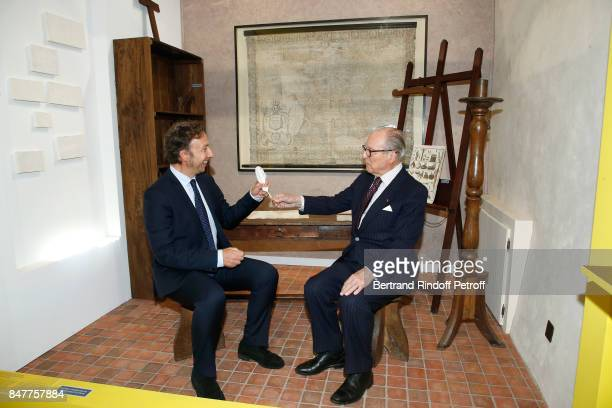 Stephane Bern and Chancellor of the 'Institut de France' Prince Gabriel de Broglie attend Members of the Stephane Bern's Foundation for 'L'Histoire...