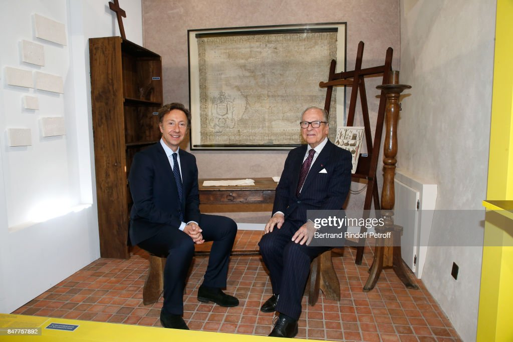 Members Of The Stephane Bern's Foundation For 'L'Histoire Et Le Patrimoine' Visit The College Royal Et Militaire De Thiron-Gardais : News Photo