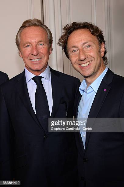 Stephane Bern and Edouard Vermeulen pose after the Natan by
