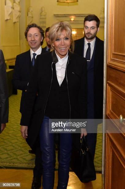 Stephane Bern and French First Lady Brigitte Macron attends the Prix Histoire et Prix Patrimoine 2017 de La Fondation Stephane Bern at Institut de...