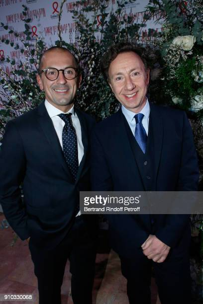 Stephane Bern and Lionel Bounoua attend the 16th Sidaction as part of Paris Fashion Week on January 25 2018 in Paris France