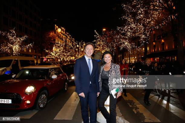 Stephane Bern and Mayor of 8th District of Paris Jeanne D'hauteserre attend Stephane Bern and 'Comite Montaigne' Launches Christmas Lights at...