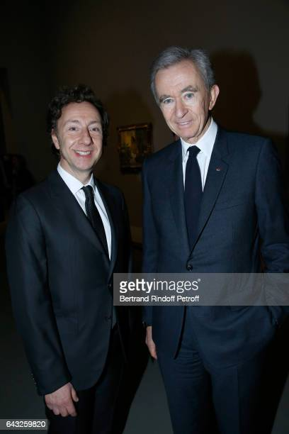 Stephane Bern and Owner of LVMH Luxury Group Bernard Arnault attend the Private View of 'Icones de l'Art Moderne la Collection Chtchoukine' at...
