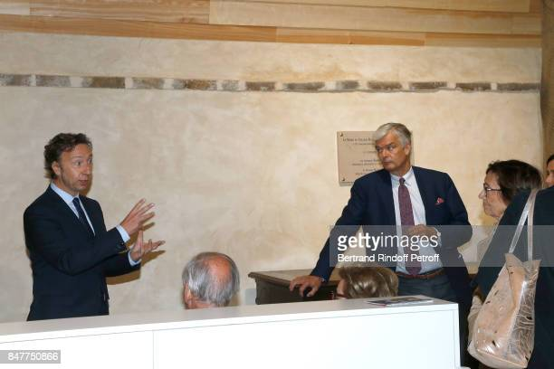 Stephane Bern and Philippe Toussaint attend Stephane Bern comments the visit of the 'College Royal et Militaire' de ThironGardais by members of the...