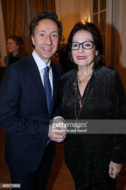 "Stephane Bern and singer Nana Mouskouri attend Nana Mouskouri gives the Greek Prize ""Nikos Gatsos 2016"" to Charles Aznavour at Embassy of Greece on..."