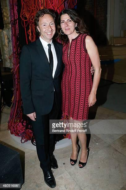 Stephane Bern and VicePresident of the Friend's of Palais De Tokyo Denise Vilgrain attend the Friend's of Palais De Tokyo's Dinner Held at Palais De...