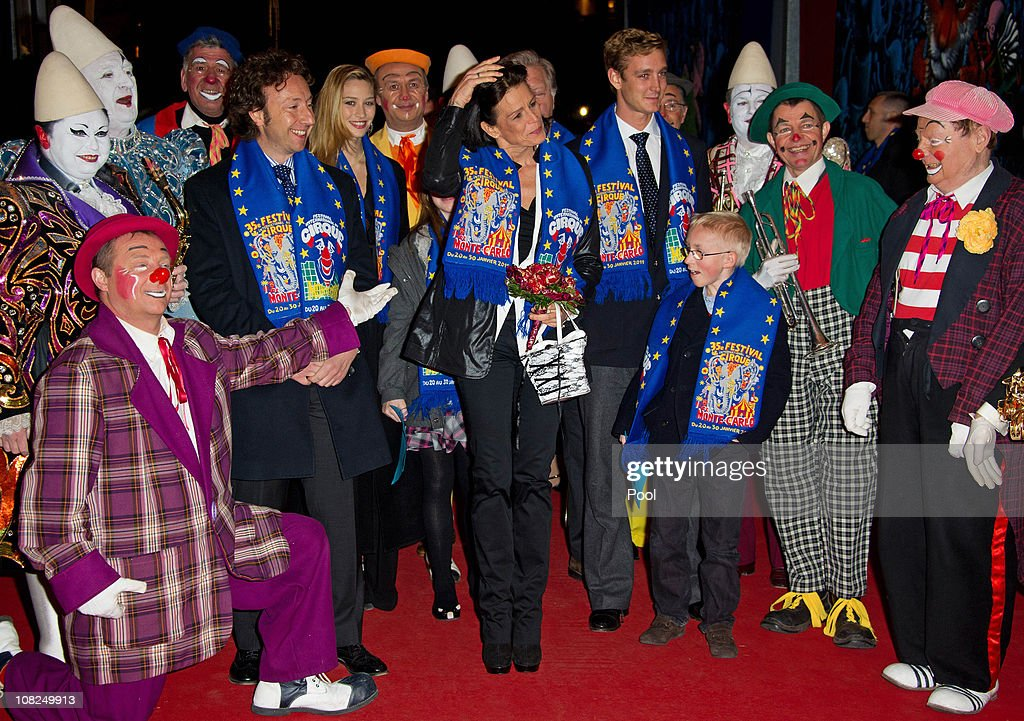 Stephane Bern, Beatrice Borromeo, Princess Stephanie of Monaco and Pierre Casiraghi pose with clowns as they attend the 35th Monte-Carlo International Circus Festival on January 22, 2011 in Monte-Carlo, Monaco.