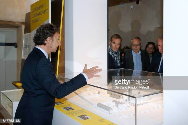 Stephane Bern Franck Ferrand and historian JeanChristian Petitfils attend Stephane Bern comments the visit of the 'College Royal et Militaire' de...